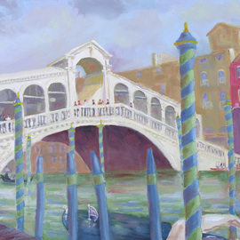 Robert P. Hedden: 'Venice Rialto Bridge', 2011 Oil Painting, Cityscape. Artist Description:    Venice Italy, oil painting, impressionistic, Rialto Bridge, Grand Canal,     ...