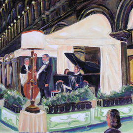 Robert P. Hedden: 'Venice St Marks Sq Evenng Concert', 2011 Oil Painting, Cityscape. Artist Description:   Venice Italy, , oil painting, impressionistic, St Mark' s Square, music, concert, night scene      ...
