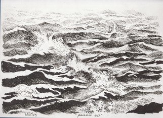 Roberto Trigas: 'Paralell 40', 2016 Ink Drawing, Seascape.  I sailed all the seas for 17 years. This drawing was made on board in the South Atlantic ...
