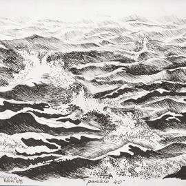Roberto Trigas: 'Paralell 40', 2016 Ink Drawing, Seascape. Artist Description:  I sailed all the seas for 17 years. This drawing was made on board in the South Atlantic ...
