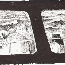 Roberto Trigas: 'Room with a view', 2016 Ink Drawing, Seascape. Artist Description:   This is part of  a series of paintings and drawing, many of them executed while at sea in the Falkland Islands. They are mementos of my 17 yewars of life as a Navy Officer  ...