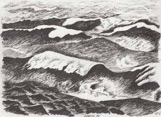 Roberto Trigas: 'Storm 10', 2016 Ink Drawing, Seascape.  In my 17 years a sea I came to establish a special relationship with the sea. In this series of paintings and drawings I aim to express her changing moods, anger, confussion, calm, thoughtfulness. . . . Storm 10 is an actual nautical term to describe winds of over 80 knots ...