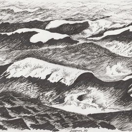 Roberto Trigas: 'Storm 10', 2016 Ink Drawing, Seascape. Artist Description:  In my 17 years a sea I came to establish a special relationship with the sea. In this series of paintings and drawings I aim to express her changing moods, anger, confussion, calm, thoughtfulness. . . . Storm 10 is an actual nautical term to describe winds of over 80 knots ...