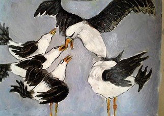 Roberto Trigas Artwork bad friends, 2016 Encaustic Painting, Birds