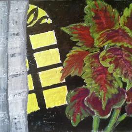 Roberto Trigas Artwork plant in front of a window, 2016 Encaustic Painting, Floral