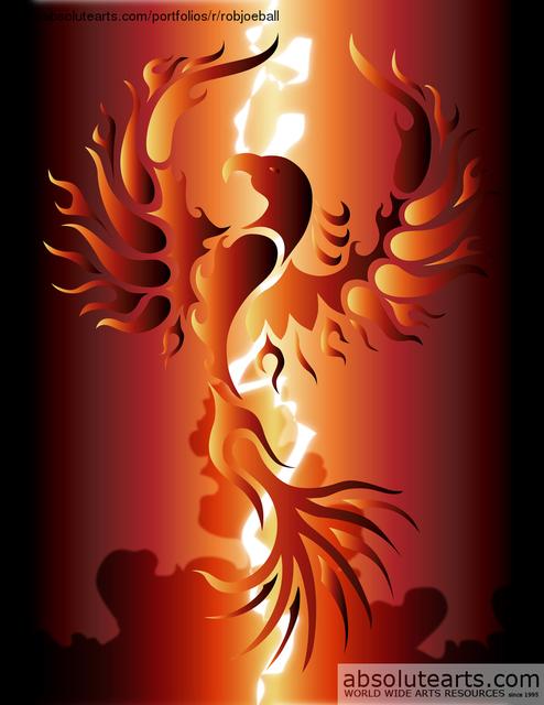 Robert Ball Artwork Phoenix Rising Original Digital Drawing