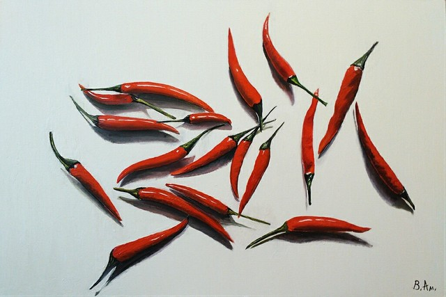 Vadim Amelichev  '18 Red Peppers On White Paper', created in 2017, Original Painting Oil.