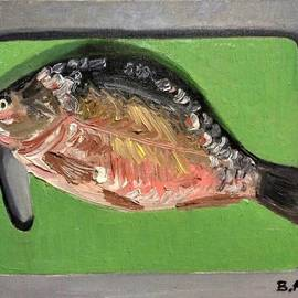 Vadim Amelichev: 'Fish on cutting board', 2016 Oil Painting, Still Life.