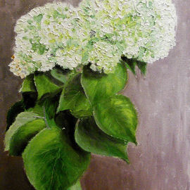 Vadim Amelichev: 'hydrangea in a green vase', 2014 Oil Painting, Still Life.