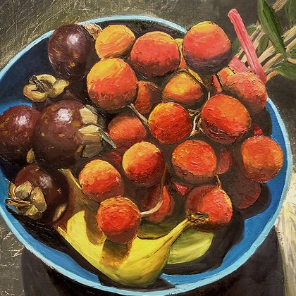 , Mangosteen And Lychee, Still Life, $2,100
