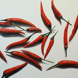, 18 Red Peppers On White P, Still Life, $2,100
