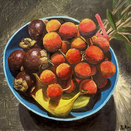 Vadim Amelichev: 'mangosteen and lychee', 2017 Oil Painting, Still Life.