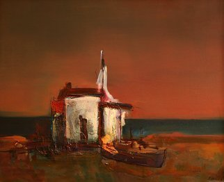 Rossen Stanoev: 'Coast', 1984 Oil Painting, Beach.       Rossen Stanoev, fine art, art, RSArt Gallery OnLine, collection Rossen Stanoev, Bulgarian painter,                ...