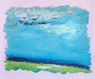 Rossen Stanoev: 'Sea II', 2016 Oil Painting, Seascape. Artist Description: sea, blue, pink, sky, grey, landscape, Rossen Stanoev, art, fine art, Bulgarian fine art, contemporary masters of art, contemporary art, painting, contemporary masters of fine art, ...