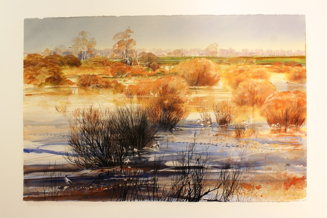 Rod Bax  'Medindee Lakes', created in 2011, Original Drawing Gouache.