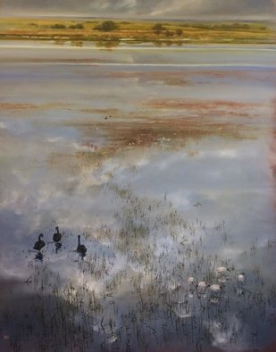 Rod Bax: 'bool lagoon revisited', 2018 Oil Painting, Landscape. a sense of place in the wetlands of south east South Australia ...