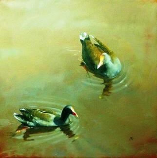 Birds Oil Painting by Rod Bax Title: breakfast on the yarra, created in 2010