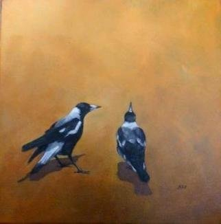 Birds Oil Painting by Rod Bax Title: morning lesson, created in 2010