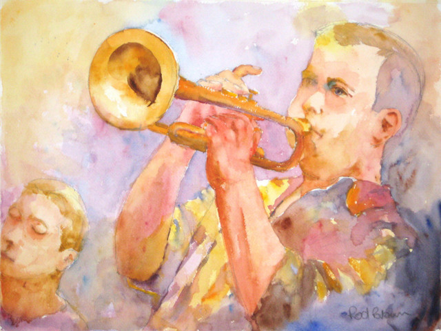 Roderick Brown  'Blow Your Horn', created in 2009, Original Watercolor.