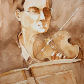 Roderick Brown Artwork Eye on The Conductor, 2008 Watercolor, Portrait