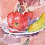 Fruit on Batik By Roderick Brown