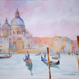 Roderick Brown Artwork Glide at Sunset on the Grand Canal, 2008 Watercolor, Landscape