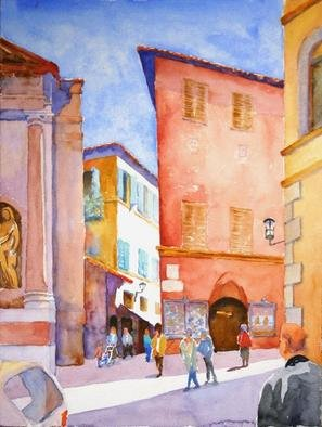 Roderick Brown: 'Morning Movement in Sienna', 2005 Watercolor, Urban. Mid morning in Sienna, Tuscany. The movement of the people going about their business amongst the old but beautiful buildings in Sienna is what caught my attention. A watercolour painting of Sienna Italy....