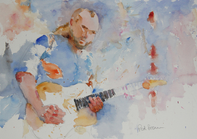 Roderick Brown  'Rockin Guitar', created in 2011, Original Watercolor.