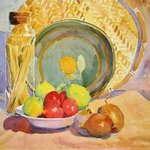 Still Life with Fruit and Spaghetti in Jar By Roderick Brown
