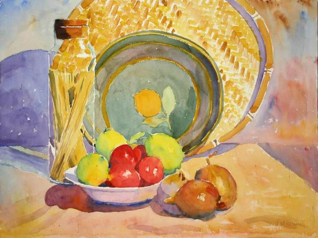 Roderick Brown  'Still Life With Fruit And Spaghetti In Jar', created in 2004, Original Watercolor.