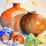 Still Life with Urns and Garlic By Roderick Brown