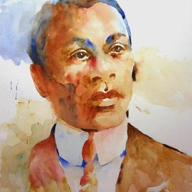 Roderick Brown Artwork Strength of Character and Vision, 2006 Watercolor, Portrait