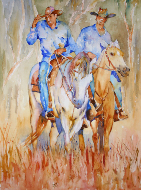 Roderick Brown  'Two Blue Mates', created in 2009, Original Watercolor.