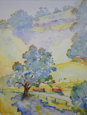 Artist: Roderick Brown - Title: View from Rogers cottage - Medium: Watercolor - Year: 2008