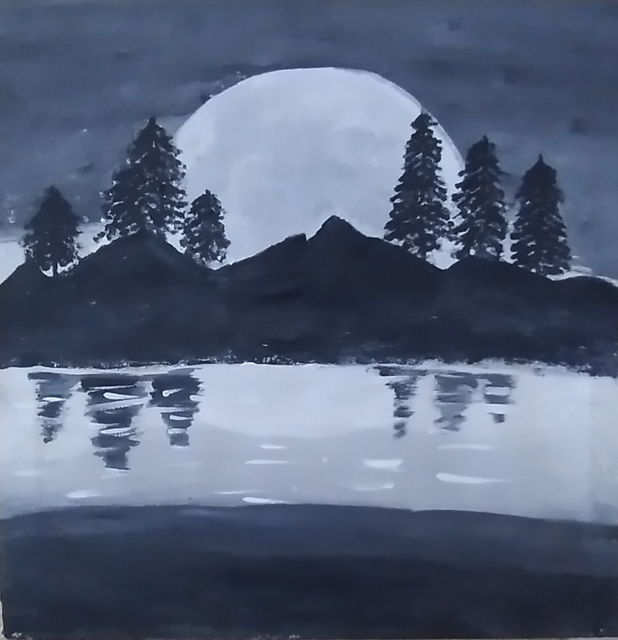 Rubab Akram  'Full Moon Night Painting', created in 2020, Original Painting Oil.