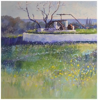 Acrylic Painting by Roman Markov titled: Abandoned farm in the Algarve, Portugal, 2013