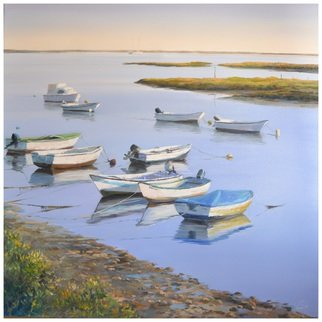 Artist: Roman Markov - Title: Boats in the river Ria Formosa, Portugal - Medium: Oil Painting - Year: 2013