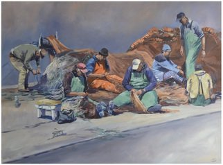 Acrylic Painting by Roman Markov titled: Fishermen inspect tackles, Portugal, 2013