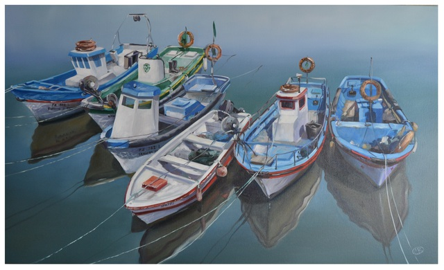 Roman Markov  'Fishing Boats In The Algarve, Portugal', created in 2013, Original Painting Oil.