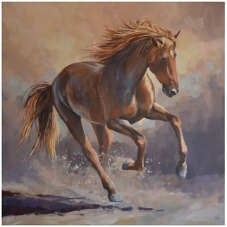 Acrylic Painting by Roman Markov titled: Red Horse, 2013
