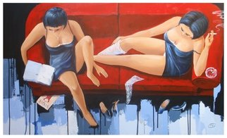 Acrylic Painting by Roman Markov titled: Red sofa, 2013