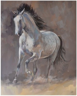 Acrylic Painting by Roman Markov titled: Running Horse, 2013