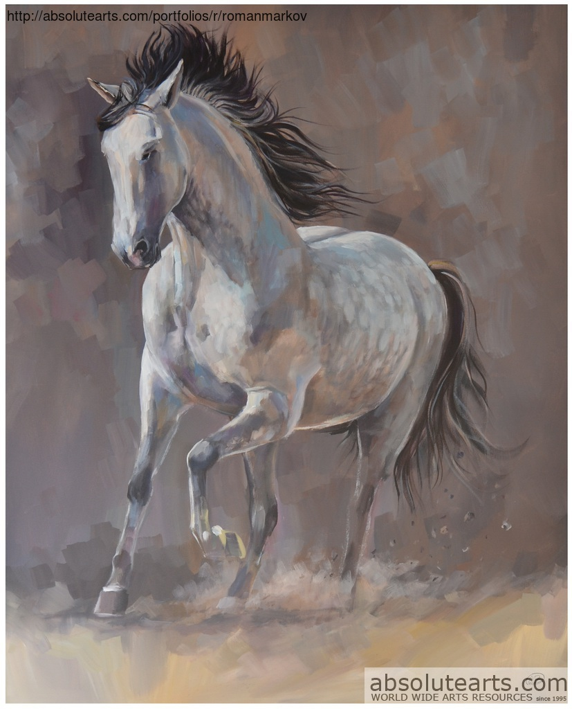 Running Horse Acrylic Painting By Roman Markov Absolutearts Com
