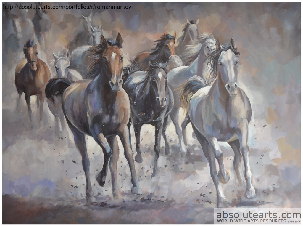 Running Horses Acrylic Painting By Roman Markov Absolutearts Com