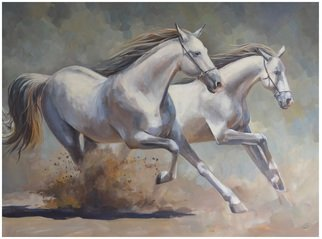 Acrylic Painting by Roman Markov titled: Running Horses, 2013