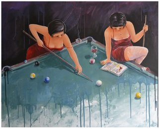 Acrylic Painting by Roman Markov titled: Snooker, 2013