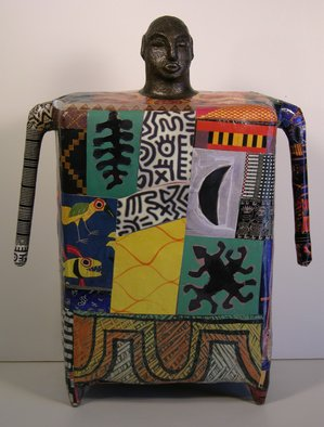 Ron Allen: 'Africa', 2009 Mixed Media Sculpture, Abstract Figurative.   cement, collaged photographs...