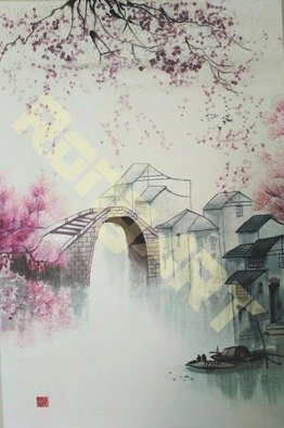 Candice Rongyu: 'jiangnan water town', 2018 Ink Painting, Scenic. Q1: What we do: A1: Bespoke an unique artwork per your requirement Q2: How we do: employ traditional handicraft- - - handmade embroidery, i. e. using hundreds and thousands needles to complete one imageA2: The periods of making: it depends size, image, grade of artworks that you required. Q3: What sort ...
