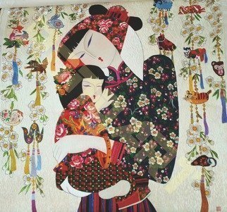Candice Rongyu: 'mother and daughter', 2017 Tapestry Art, Ethnic. Introduction of Craft: Hand- made Embroidery, It is a more than 2000 years traditional handicraft combining art and craftFeature of handicraft: The procedure of making is embroider pattern image with various thinness color silk threads on high density silk, satin fabrics or woolen textiles  p. s. the thinnest filament ...