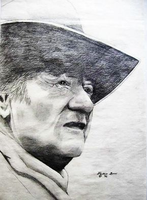 Pencil Drawing by Ronald Lunn titled: John Wayne, created in 2007